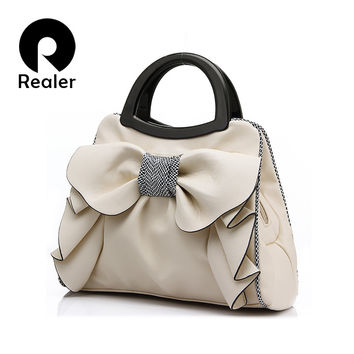 New brand women bag with large bow shoulder bags ladies designer handbag high quality black pu leather tote bag 8 colors