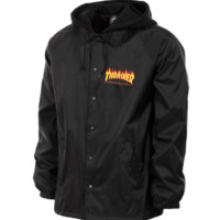 Thrasher Magazine Flame Logo Coach Jacket With Fleece Hoodie In Black