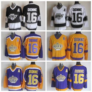 Throwback Los Angeles Kings Jersey #16 Marcel Dionne Jersey Yellow Vintage CCM Classic LA Kings Marcel Dionne Hockey Jersey Stitched A Patch