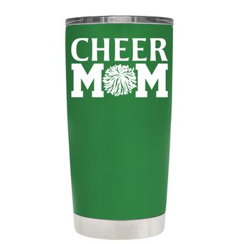 Cheer Mom Pom Pom on Kelly Green 20 oz Tumbler Cup