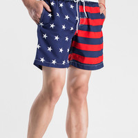 Dark Blue American Flag Swim Shorts