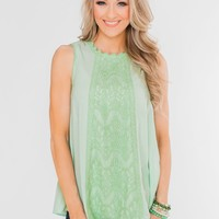 Every Little Thing Racerback Lace Tank Top- Mint Green