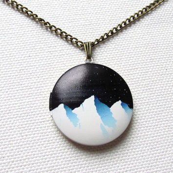Snow and Mountains  Locket Night Sky Graphic Locket Long Chain Quirky Nature Outdoors Locket