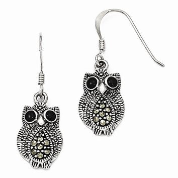 Sterling Silver Marcasite & Black Agate Owl Shepherd Hook Earrings