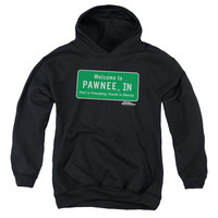 PARKS AND REC/PAWNEE SIGN-YOUTH PULL-OVER HOODIE - BLACK -