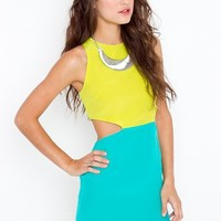 Silk Colorblock Cutout Dress  in  What's New at Nasty Gal