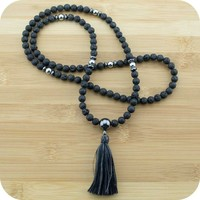 Lava Rock Mala with Hematite