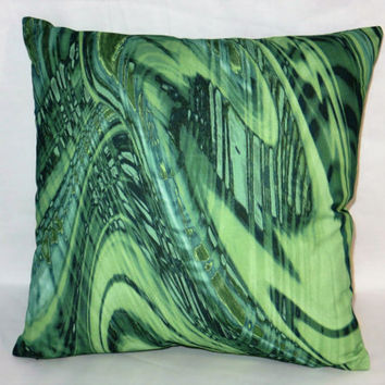 "Green Malachite Pillow, 17"" Square Cotton Blend, New Braemore Fabric, Emerald Swirl, Zipper Cover Only or Insert Included, Ready to Ship"