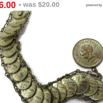 ON SALE! Vintage Cinco Centavos Mexican Coin Bracelet, 1940s 1950s Coins, Birthday Gift, Xmas Gift