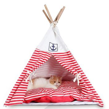 Indian Foldable Pet Tent Dog Cat Kennel Nest Wood Pet Puppy dog House