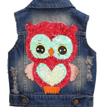 Baby Toddler Girls Must Have Sequin Owl Jean Vest Sleeveless Jacket