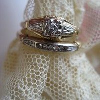 Art Deco 14K Heirloom Diamond Wedding Set, Wedding Rings, Circa 1940 Brides Jewelry, Engagement Ring