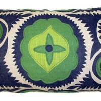 #12 Applique Navy Suzani w/ Kelly Green & Lime Linen Lumbar Pillow