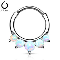 Fire Opal White Septum Clicker Ring Surgical Steel  Daith Nose Jewelry