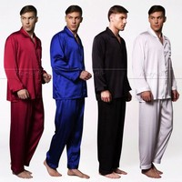 Mens Silk  Satin  Pajamas  Set   Pyjamas  Set   Pjs   Sleepwear  Loungewear  Plus Size Fits All Season