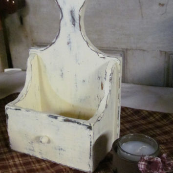 Primitive White Antiqued Wall Box Candle Holder  Rustic Primitive Home Decor Mail Box