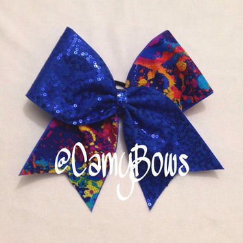 Cheer Bow Sequin Sparkle Royal Blue and Rainbow Splatter Paint