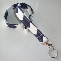 Lanyard  ID Badge Holder - Navy Blue and White Chevron zigzag Zig zag  - Lobster clasp and key ring