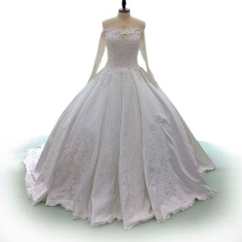 White satin wedding Dress Off Shoulder Sexy bridal Gown Beaded Lace wedding Dresses