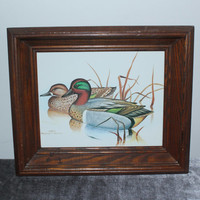 Rustic wood framed Gregory F. Messier mallard ducks on water print, bird art, bird decor