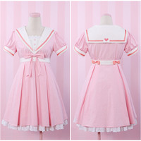 Original Design Pink Sailor Collar Dress Free Ship SP141155 from SpreePicky