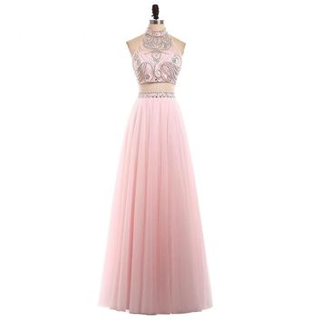 Romantic Tulle Long Prom Dresses High Neck Floor Length Crystal Beaded Evening Gowns For Beach Party