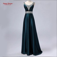 Dark Green V-Neck Fashion Formal Robe de soiree Plus size Party vestido de festa Beading long Evening dress