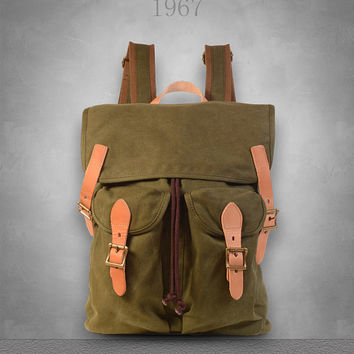 New Genuine Leather and Canvas Backpack Rucksack Bag 3 Colors U.K Seller Free shipping to UK