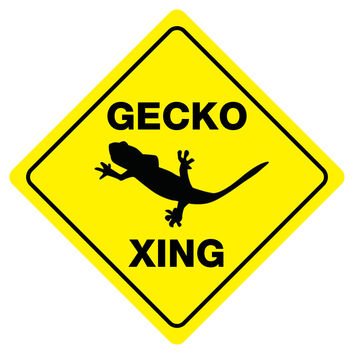 "GECKO CROSSING Funny Novelty Crossing Sign 12""x12"""