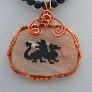 Natural Stone Dragon Wire Wrapped Pendant Rainbow Obsidian Necklace