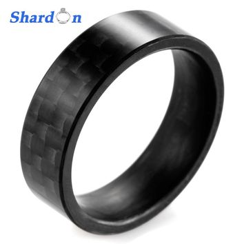 SHARDON Solid Men's Matte Finish Black Carbon Fiber Ring Black Wedding Band wedding and engagement jewelry for Couples
