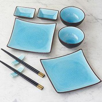 10-pc Aqua Crackle Sushi Set  - Dinnerware Sets - Cost Plus World Market