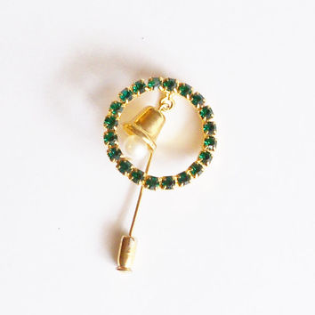 Pin Brooch Wreath with Bell Green Rhinestones Lapel Stick Pin Gift for Her Christmas Jewelry Vintage Stocking Stuffer