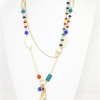 Multicolored Gold Stone Necklace