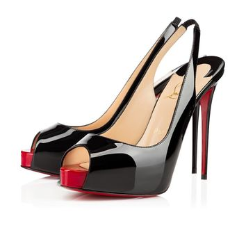 Christian Louboutin Cl Private Number Black/red Patent Leather Ss15 Platforms 1150688cm4h -