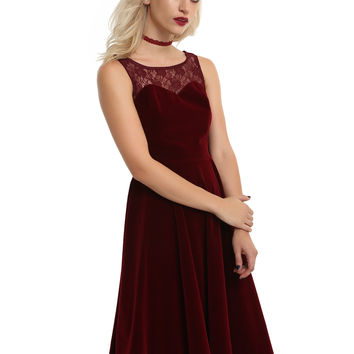 Burgundy Velvet Sweetheart Lace Dress