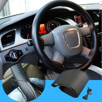 1pcs Car Styling Black DIY Car Steering Wheel Cover With Needles and Thread Genuine Artificial leather Car Accessories