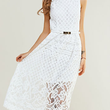 Lace Crochet Midi Dress with Belt