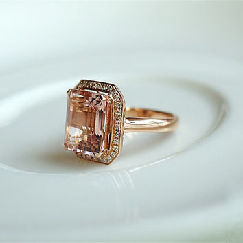 Emerald Cut 6x8mm Pink Morganite Ring Solid 14K Rose Gold Diamond Ring/ Engagement Ring/ Anniversary Ring/ Gemstone Jewelry