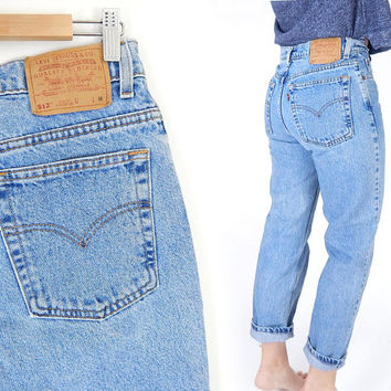 Vintage 90s High Waist Levi's 512 Slim Fit Jeans - Size 8 - Women's Straight Leg Stone Washed Faded Blue Denim Boyfriend Jeans - 30 Waist
