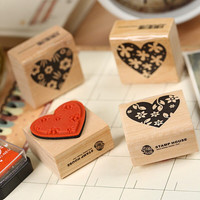 Set of 4 Hearts Wooden Rubber Stamp
