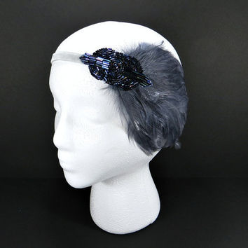 Downtown Abby Great Gatsby 1920s Flapper Headband Lady Mary Wedding Party Gray Feather with Blue Purple Beaded Fascinator