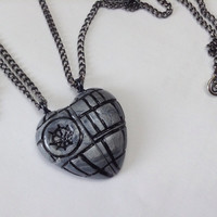 GUO GUO'S - Star Wars Inspired Death Star Heart Pendant / BFF Necklace Set / Friendship / Key chain / Brooch / Made to order