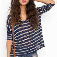 Stitched Stripe Knit - Navy  in  Clothes Tops at Nasty Gal