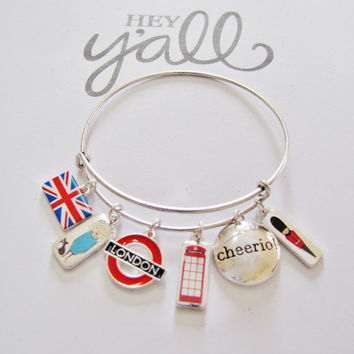 London British UK Gift Charm Adujstable Expandable Bangle Bracelet Unique Jewelry Gift Gift for Her Mom Wife Daughter Nana loUiSiAnaCre8ions