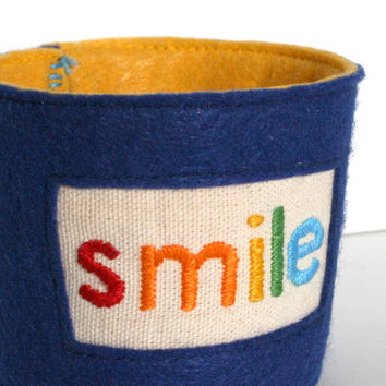 smile - hand embroidered coffee cup cozy, coffee sleeve, java jacket, eco-friendly fabric and reusable