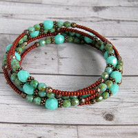 tristan turquoise czech glass and copper beaded memory wire bracelet, bohemian, wrap bracelet,copper