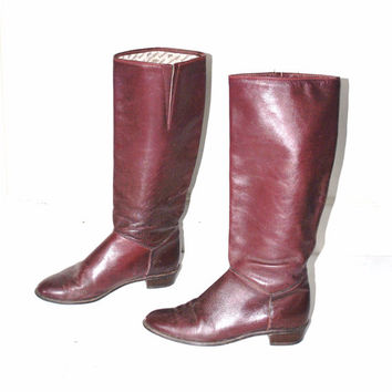 size 7.5 OXBLOOD leather boots vintage 80s boho MINIMAL tall knee high insulated BOOTLEGGER winter boots