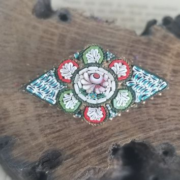 Edwardian handmade Italian antique micro mosaic flower brooch with c clasp