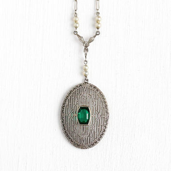 Art Deco Lavalier - Antique 10k White Gold Filigree Pearl Pendant Necklace - Vintage 1920s Simulated Emerald Paper Clip Link Chain Jewelry